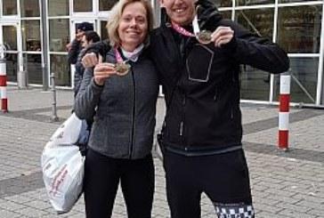 Lisa Steinke und Christoph Wehner beim Frankfurt Marathon am Start